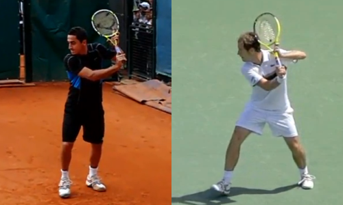 Almagro (left) and Gasquet (right) in their chambered positions on the backhand
