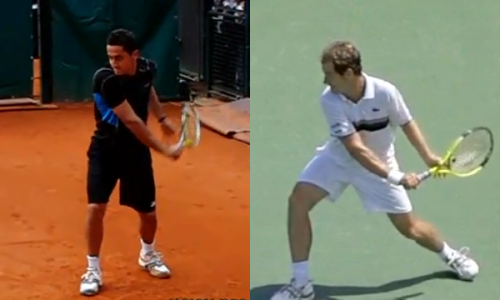Almagro (left) and Gasquet (right) at the bottom of their swings