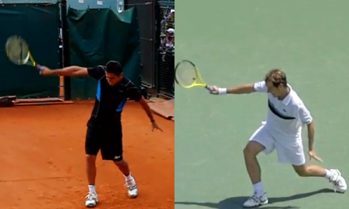 Almagro (left) and Gasquet (right) mid-way through their follow-through