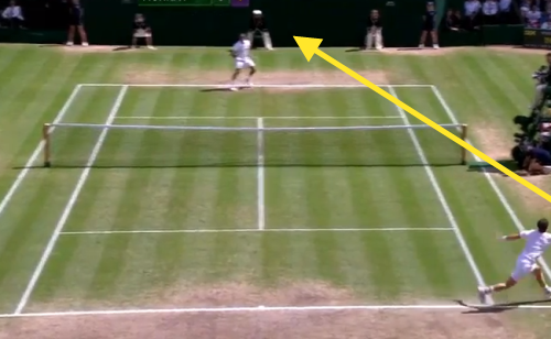 Murray's forehand return down the line