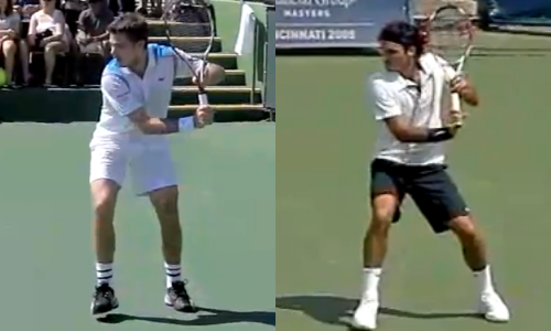 Wawrinka (left) and Federer (right) in the chamber position on their one-handed backhands