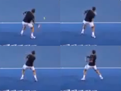 Wawrinka jumping while hitting a forehand