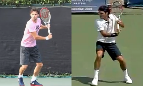 Initial shoulder turn and racket preparation for Dimitrov (L) and Federer (R) on the backhand