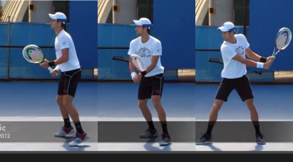 The preparation phase of Djokovic's backhand