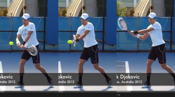 Djokovic hitting his technically more sound backhand