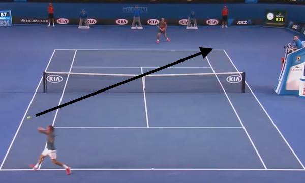 Federer uses a hard slice to make Nadal hit from wide on the run