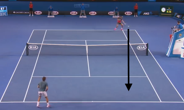 Nadal plays a ball into Federer's forehand