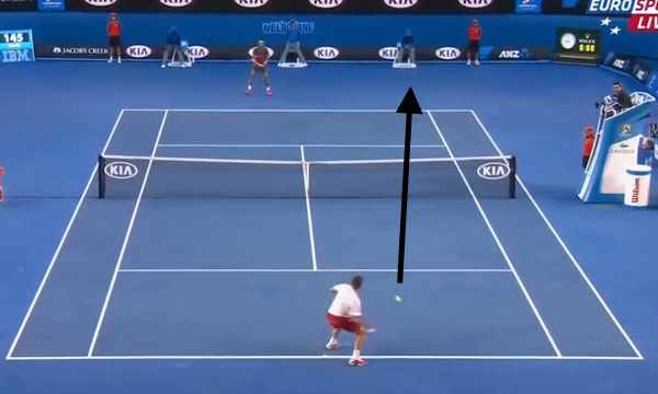 Wawrinka drives a forehand into Nadal's forehand corner and draws an error