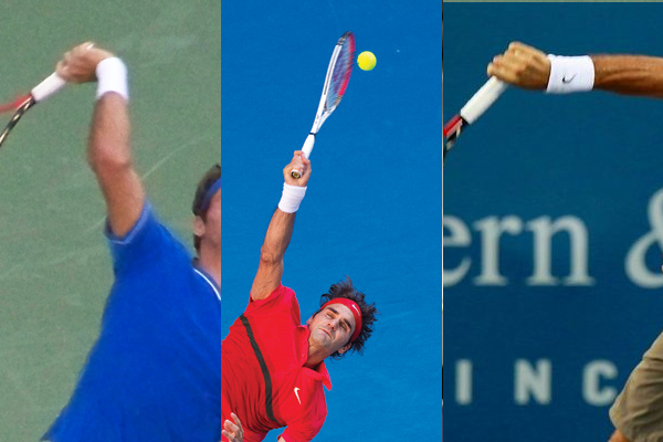 Federer's wrist position before, during and after contact on the serve