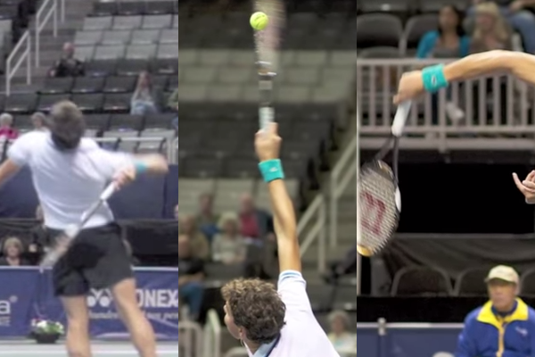 Milos Raonic's wrist position before, during and after contact
