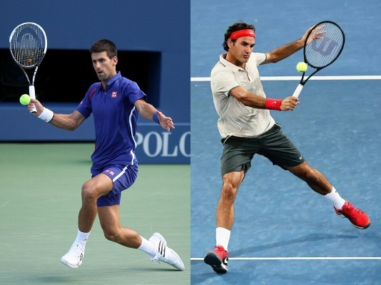 Djokovic and Federer Volleying