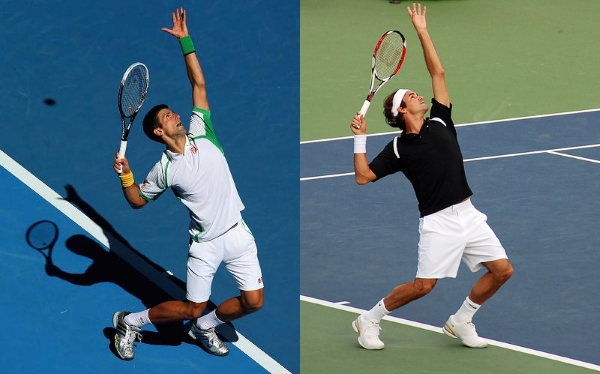 The service trophy positions of Federer and Djokovic