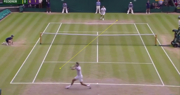 Federer takes the slice cross-court